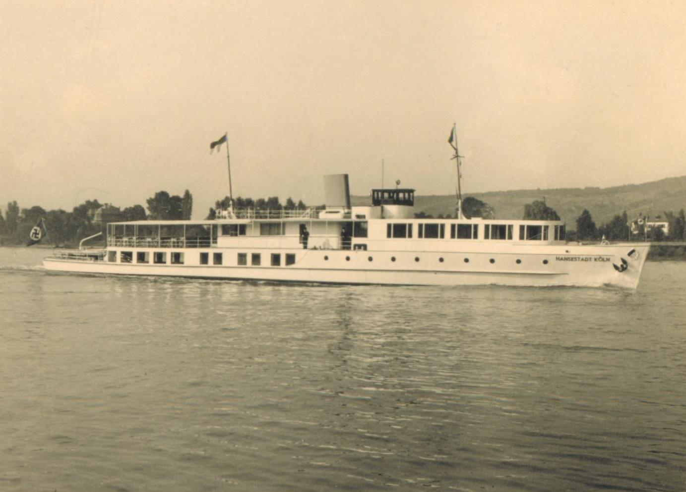 Das Rheinschiff Hansestadt Köln im Jahre 1938