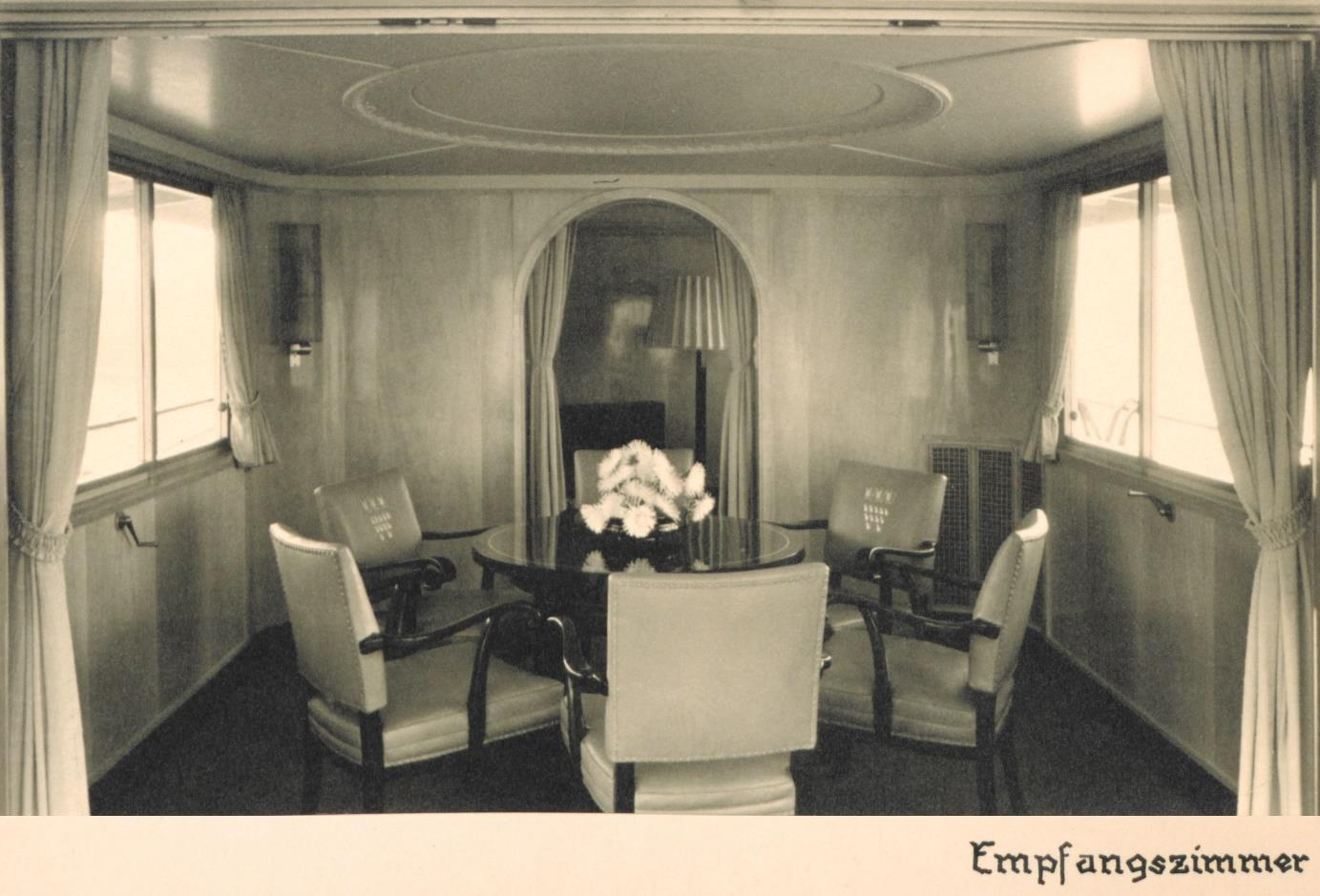 Das Rheinschiff Hansestadt Köln - Innenaufnahme Empfangsraum 1938