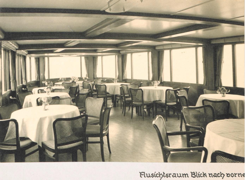 Das Rheinschiff Hansestadt Köln 1938 - Innenaufnahme Aussichtsraum