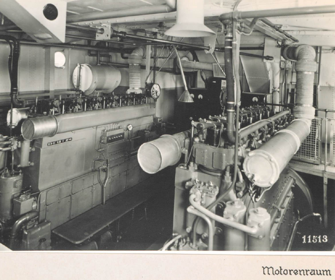 Das Rheinschiff Hansestadt Köln - Maschinenraum 1938